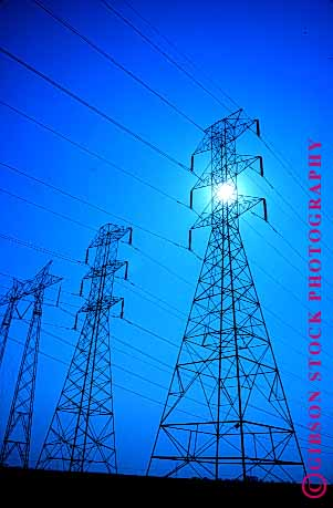 Stock Photo #1636: keywords -  distribution electrical electricity energy geometric grid high industry line lines network power silouette technology tension tower transmission triangle vert wire wires