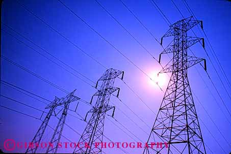 Stock Photo #1639: keywords -  conduct conducting conducts distribution electrical electricity energy geometric grid high horz industry line lines network power silouette sun technology tension tower transmission triangle wire wires