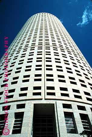 Stock Photo #1666: keywords -  architecture building business commerce design geometric high modern office rise round sky tall tampa tower upward vert windows