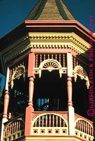 Stock Photo #1695: keywords -  architecture balcony cute decorate ferndale gazebo gingerbread home house not octagon ornate released traditional trim vert victorian