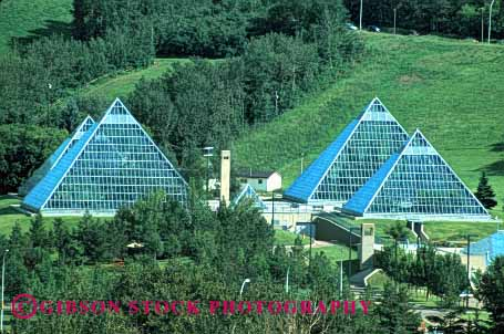 Stock Photo #1708: keywords -  angle architecture conservatory edmonton engineer geometric geometry glass greenhouse horz metal modern muttart new point pyramid triangle