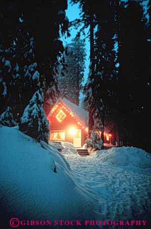 Stock Photo #3529: keywords -  americana celebrate christmas cottage decorate dusk forest frame getaway holiday house lighting relax released retreat romantic snow tradition vert warm winter