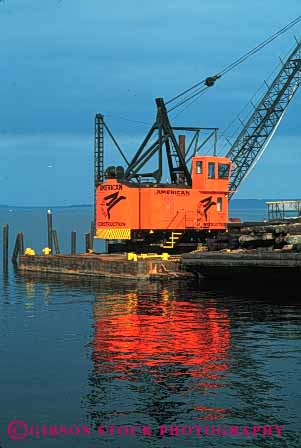 Stock Photo #6182: keywords -  barge bay clean coast construction crane equipment float heavy industry lift marine maritime new ocean orange sea shiny vert water