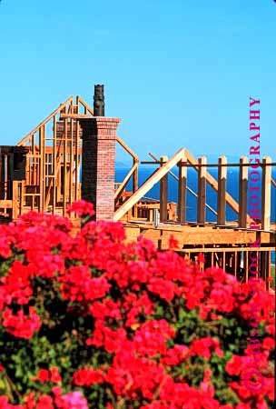 Stock Photo #1758: keywords -  build chimney construction flower frame home house industry new vert wood