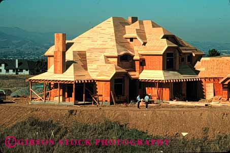 Stock Photo #1759: keywords -  build construction frame home horz house income industry mansion new plywood upper wood