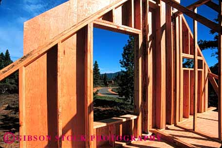 Stock Photo #1765: keywords -  build construction frame geometric geometry home horz house industry new plywood rafter square wall window wood