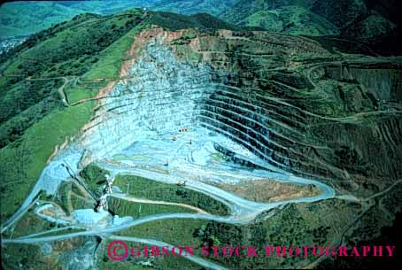 Stock Photo #1812: keywords -  aerial california dig environment extract gravel horz industry mine mining natural quarry resource rock sort stone terrace