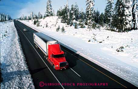 Stock Photo #1837: keywords -  california commerce highway highways horz industry interstate motion moving shipping snow transportation truck trucking trucks weather winter