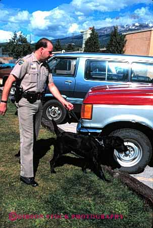 Stock Photo #1844: keywords -  car contraband dog drug income job model occupation policeman public released search service sniff summer uniform vehicle vert work