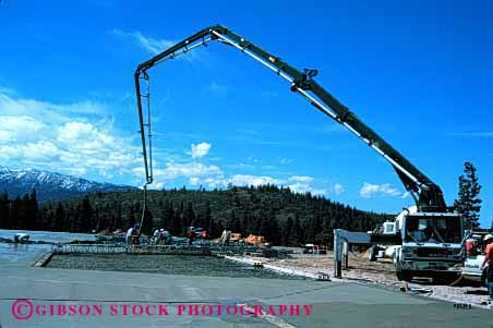 Stock Photo #1857: keywords -  building cement commercial concrete construction equipment floor heavy horz hose industry lift pour pump smooth truck tube