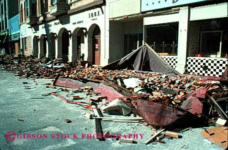Stock Photo #1864: keywords -  apart claim collapsed damage danger destruction disaster earthquake fall francisco front horz insurance loss property risk san shake store vibrate