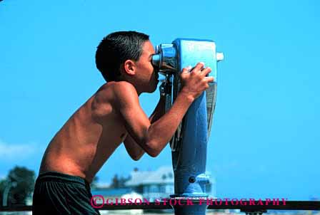 Stock Photo #1891: keywords -  beach boy child horz not play released see sight telescope vision