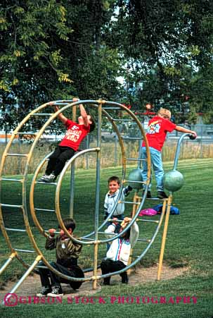 Stock Photo #1899: keywords -  boys children climb exercise hang physical play playground social together vert