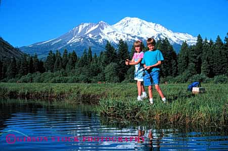 Stock Photo #1922: keywords -  boy brother california children fish fishing friend friends girl horz lake mount mountain outdoor recreation released shasta sibling siblings sister sport stream summer together two vacation water