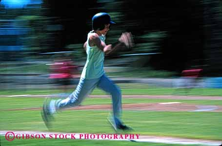 Stock Photo #1925: keywords -  action adolescent base baseball blur child competition dynamic effort exercise girl horz league little motion physical recreation running softball speed sport