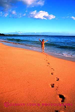 Stock Photo #1949: keywords -  alone bathing beach clean coast footprint freedom girl happy hawaii hike landscape model ocean open private quiet released sand scenic shore solitude suit summer surf vacation vert walk warm water