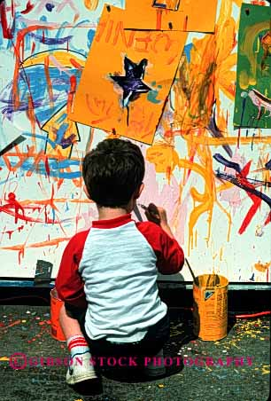 Stock Photo #1963: keywords -  abstract art boy color colorful create creative design elementary learn outdoor paint practice summer vert