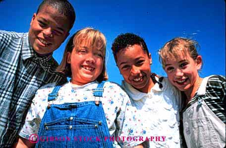 Stock Photo #1987: keywords -  african american black children ethnic friend gender group horz mix model outdoor play recreation released share smile social together