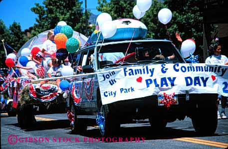 Stock Photo #2087: keywords -  advertise balloon car child children day fourth horz july of parade play promote
