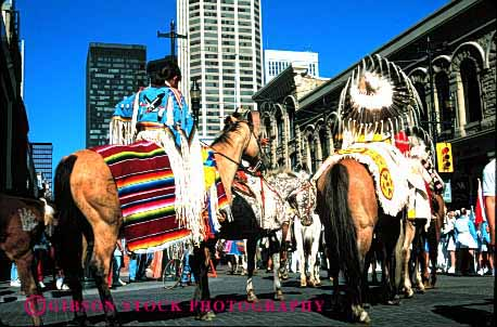 Stock Photo #2095: keywords -  colorful dres dress ethnic horseback horz indian native parade show traditional