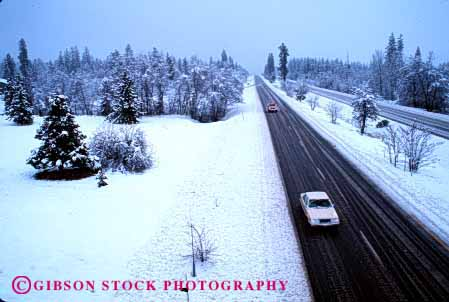 Stock Photo #2160: keywords -  auto california car caution drive highway horz interstate mount moving road rural scenic shasta slippery snow street transportation vehicle weather winter