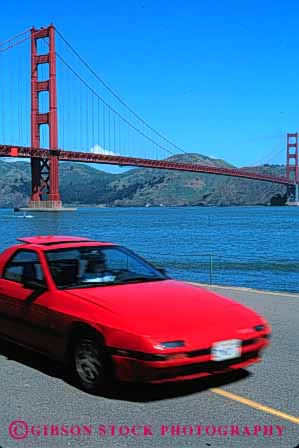 Stock Photo #2169: keywords -  auto bay bridge california car coast drive francisco gate golden highway moving ocean red road san scenic shore street transportation urban vehicle vert