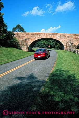 Stock Photo #2173: keywords -  auto blue bridge car drive highway moving ridge road rural scenic stone street transportation vehicle vert virginia