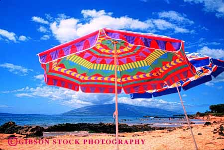 Stock Photo #2195: keywords -  abstract beach bright colorful geometric geometry hawaii horz maui pattern pink radial red summer sun umbrellas