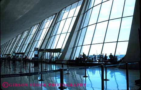 Stock Photo #6144: keywords -  airport architecture big dulles horz interior lean lobby modern pattern row square symmetrical symmetry tall tilt windows
