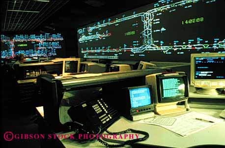 Stock Photo #2237: keywords -  area bay communications computer control digital display electronic high horz indicator industry light monitor oakland rail rapid room station system technology track transit transportation work