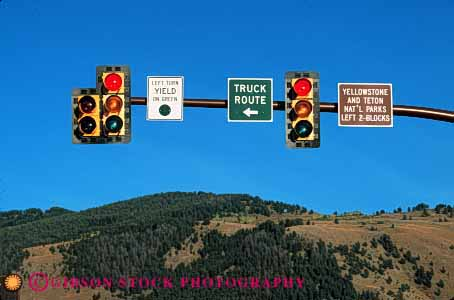 Stock Photo #2275: keywords -  control direction horz jackson light pole red route sign signal traffic truck wyoming