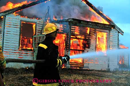 Stock Photo #2310: keywords -  building burn burning career caution danger emergency fight fire fireman flame home horz hose hot house income job occupation public risk safety service suit uniform vocation water work