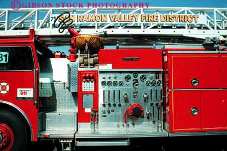 Stock Photo #2313: keywords -  clean controls dials emergency equipment fire gauge horz ladder lever new truck valves