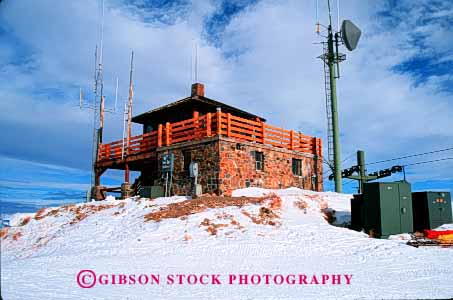 Stock Photo #2328: keywords -  alarm antenna baldi cabin cold communicate elevated emergency fire forest high hilltop horz idaho isolated lookout mt. observe panoramic radio remote report smoke snow station telecommunication view winter