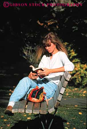 Stock Photo #2329: keywords -  alone bench blond book education female fiction in learn outdoor park private quiet reading relax released sit solitude study summer vert woman