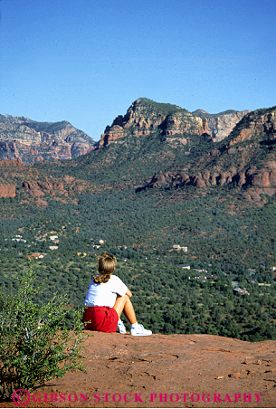 Stock Photo #2333: keywords -  alone arizona blond female outdoor overlook panoramic private quiet relax sedona see sit solitude summer vert view woman
