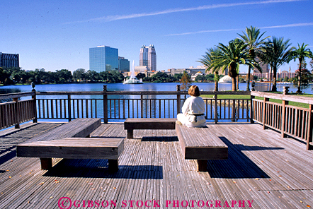 Stock Photo #2334: keywords -  alone bench eola female florida lake orlando outdoor park private quiet relax sit solitude summer think vert woman
