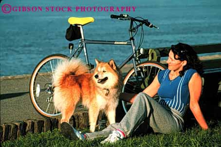 Stock Photo #2342: keywords -  alone athlete bicycle dog female horz outdoor pet private relax released rest summer woman