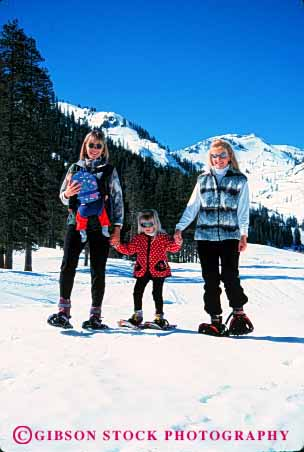 Stock Photo #2347: keywords -  baby child children couple female friend mother outdoor play recreation relationship relax released snow snowshoe sport vert winter woman women