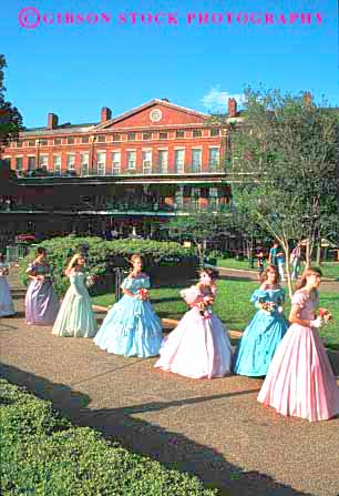 Stock Photo #2356: keywords -  antebellum colorful costume display dress era female festival fiesta new not orleans outdoor parade performance promenade relax released show spring summer traditional vert woman women young