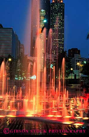 Stock Photo #2394: keywords -  atlanta blur bright centennial city color colorful downtown dusk exposure fountain georgia lighting long motion movement olympic park time vert water