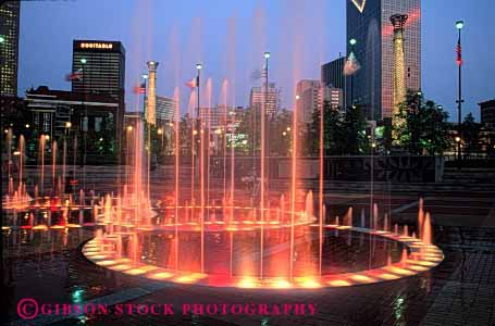 Stock Photo #2395: keywords -  atlanta blur bright centennial city color colorful downtown dusk exposure fountain georgia horz lighting long motion movement olympic park time water