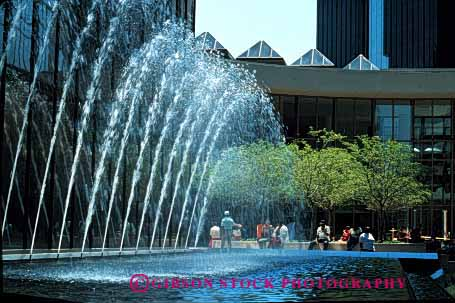 Stock Photo #2399: keywords -  arch carolina charlotte city downtown fountain horz independence motion movement north pattern pool splash spray square squirt water