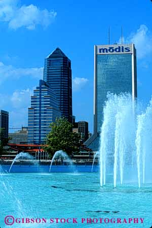 Stock Photo #6138: keywords -  architecture building buildings city cityscape daytime downtown fountain friendship jacksonville modern office pool skyline splash spray squirt vert water