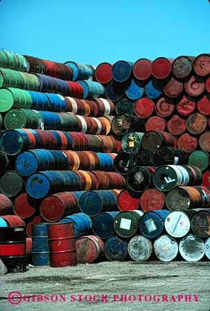 Stock Photo #2439: keywords -  barrel barrels colorful container cylinder hazardous liquid many material oil pattern pile round row shipping stack toxic vert waste