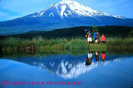 Stock Photo #2510: keywords -  adventure backpack boy california camp child children dad daughter exercise father girl horz lake mount mountain outdoor parent reflection released shasta single son sport summer together water