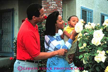 Stock Photo #2530: keywords -  african american black child children ethnic family father flowers group happy home horz house minority mother only parent released smell son together