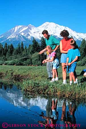 Stock Photo #3363: keywords -  adventure california child cooperation families family father fishing husband lake mother mount outdoor reflection released shasta sport summer together vert wife