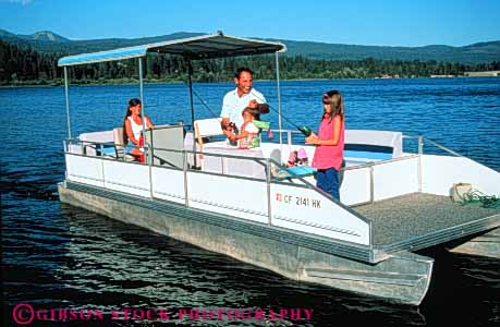 Stock Photo #3379: keywords -  boat california child families family father fishing fun horz houseboat husband lake mother recreation released siskiyou sister sport together vacation wife