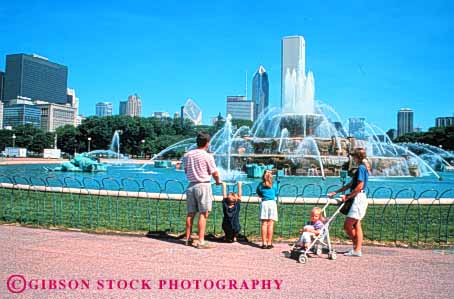 Stock Photo #2538: keywords -  buckingham chicago child children family father fountain horz illinois mother not parent recreation released summer sunny together travel vacation warm water